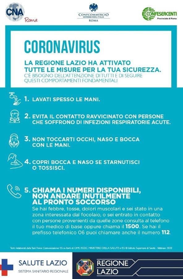 CORONAVIRUS: le disposizioni della Regione Lazio per la ...